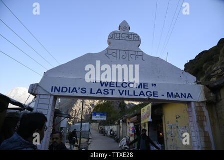 Dernier village de l'Inde au Tibet Village Mana 2019 frontière près de Badrniath Rudrapryag , Chamoli, Inde, Asie,