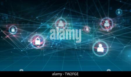 Résumé graphique des réseaux et internet, l'arrière-plan des lignes de connexion avec un code binaire et icônes Banque D'Images
