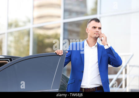 Young businessman talking on phone près de voiture Banque D'Images