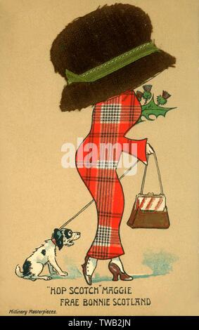 Hop Scotch Maggie - Frae Bonnie Scotland. Carte postale bd - satire sur le penchant pour les femmes à porter les grandes et enveloppant chapeau durant cette période. Aussi tous les stéréotype écossais a été shoehorned dans cette image... (Voir aussi: 12014941) Date: vers 1910 Banque D'Images