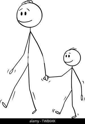 Vector cartoon stick figure dessin illustration conceptuelle de l'homme o père ou papa avec petit garçon ou son fils. Ils sont à pied et tenir la main.