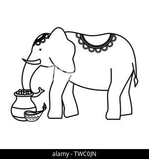 Avec l'éléphant indien et bougie céramique pot Banque D'Images