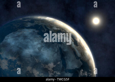 Avec la terre, l'univers fond sombre Banque D'Images