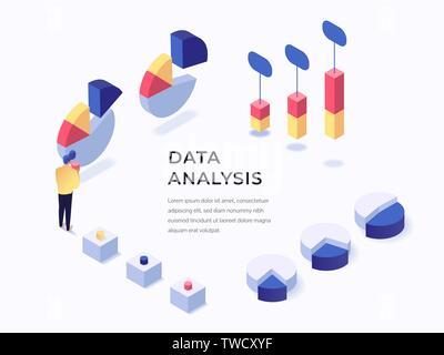 Analyse de données concept isométrique style plat vector illustration. Place pour le texte. Les tableaux et graphiques