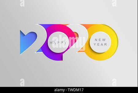 Heureuse nouvelle année 2020 bannière couleur insta. Banque D'Images