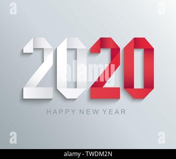 Nouvelle année 2020 carte de voeux papier. Banque D'Images
