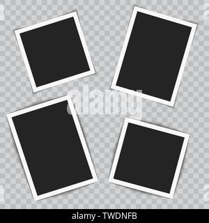 Ensemble de cadres photo réaliste sur fond transparent. Vecteur. Banque D'Images