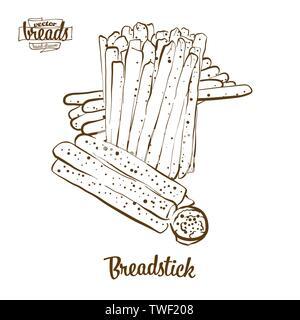 Longuet pain dessin vectoriel. L'esquisse de pain sec, généralement connu en Italie. Série d'illustration de boulangerie.
