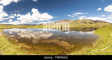 Panorama des réflexions dans l'eau à Slough creek, vu depuis Camping road, Yellowstone, Wyoming, USA
