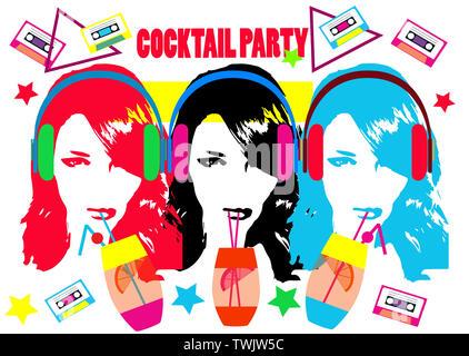 Cocktail d'été contexte avec l'alcool des boissons et filles beats casque, vector illustration Banque D'Images