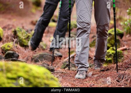 Randonnée pédestre - Les Randonneurs randonnée en forêt avec des bâtons de randonnée sur sentier chemin dans les montagnes. Close up de bottes et chaussures de randonnée. L'homme et la femme la randonnée ensemble. Banque D'Images