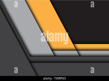 Abstract jaune gris foncé avec chevauchement flèche espace moderne design futuristic background vector illustration. Banque D'Images