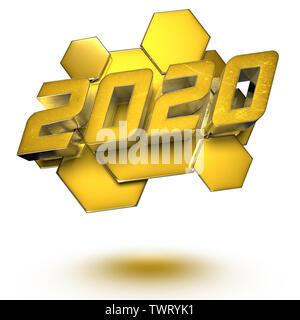 2020 le rendu 3D sur fond blanc.(with Clipping Path). Banque D'Images