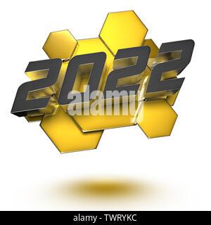 2022 le rendu 3D sur fond blanc.(with Clipping Path). Banque D'Images