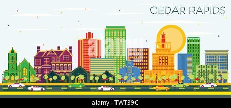 Cedar Rapids Iowa City Skyline avec bâtiments de couleur et de ciel bleu. Vector Illustration. Banque D'Images