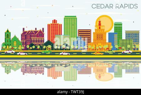 Cedar Rapids Iowa City Skyline avec les bâtiments, de couleur bleu ciel et les réflexions. Vector Illustration. Banque D'Images