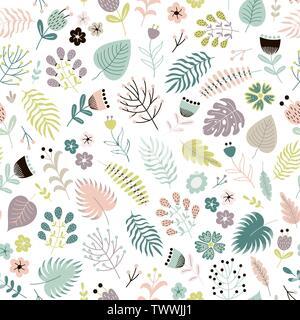 Transparente avec motif floral fleurs, plantes et feuilles. Fond d'illustration vectorielle Banque D'Images