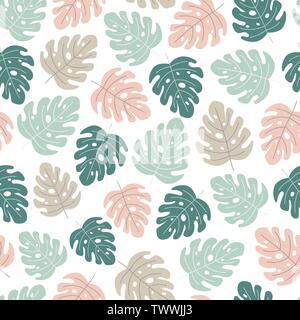 Les feuilles tropicales modèle homogène. Feuilles de Monstera en couleurs tendres. Vector illustration Banque D'Images