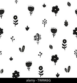 Modèle sans couture des fleurs dans un style scandinave. Creative floral background. Vector illustration Banque D'Images