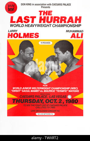 Muhammad Ali et Larry Holmes World Heavyweight Championship match de boxe poster Octobre 2, 1980.
