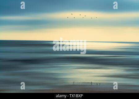 Paysage marin abstrait, Coucher de soleil sur la plage