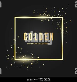 Modèle de cadre doré avec des paillettes effet pour bannière et poster. Forme carrée d'or frontière avec l'espace pour le texte. Vector illustration isolé sur dark b Banque D'Images