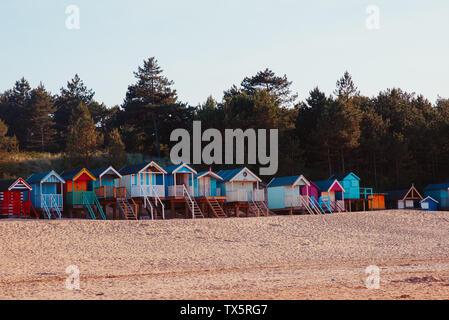 Cabines de plage en bois au Wells Next The Sea, Norfolk