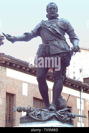 'English: statue en bronze d'Álvaro de Bazán (1526-1588) par le sculpteur Mariano Benlliure (1862-1947). 2,20 mètres de haut. C'est une partie du monument à la Plaza de la Villa (square) à Madrid (Espagne) inauguré en 1891. Español: Estatua de bronce de Álvaro de Bazán (1526-1588) realizada por el escultor Mariano Benlliure (1862-1947). 2,20 metros de Altura. Es parte del monumento situado en la Plaza de la Villa de Madrid (España) e inaugurado en 1891.; 8 mai 2006; travail; Photographie: Luis García (Zaqarbal); ' Banque D'Images