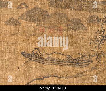 Sixième des Neuf plis au Mont Wuyi, Chine (image 2 de 5); Corée, Corée, dynastie Joseon (1392-1910), Tableaux du XVIIe siècle défilement suspendu, encre sur ramie ou chanvre image : 20 3/4 x 23 1/8 in. (52,71 x 58,74 cm) ; montage : 48 3/4 x 25 po. (123,83 x 63,5 cm) ; rouleau : 27 1/4 po. (69,22 cm) Acheté avec Museum Funds (M. 2000.15.20) Korean Art; date du XVIIe siècle QS:P571,+1650-00-00T00:00:00Z/7;