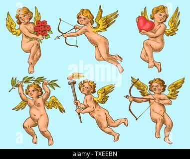 Cute Angels avec des flèches et arc. Les petites ailes avec Cupids esthétique avec des coeurs et des fleurs dans le ciel. Groupe d'enfants en monochrome gravé Banque D'Images