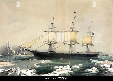 Clipper américain 'Red' dans la glace du cap Horn, sur son passage de l'Australie à Liverpool, Angleterre Currier & Ives imprimer Banque D'Images
