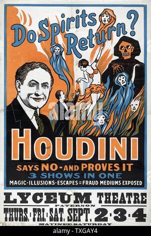 Affiche pour l'exposition à la fraude Houdini show. Retour les esprits? Houdini dit non - et il s'avère 3 montre en un seul: la magie, illusions, s'échappe, la fraude médiums exposés. Banque D'Images