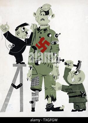 Dessin Animé Américain De Hitler Et Mussolini L Adherence