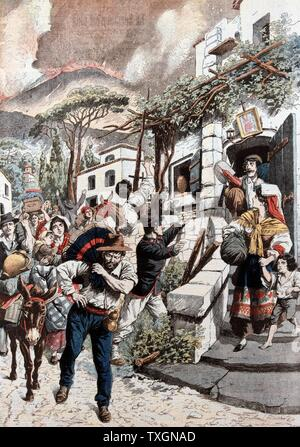 Éruption du Vésuve. Les gens d'être évacuées de leurs maisons comme le Vésuve en éruption dans l'arrière-plan: Avril, 1906. À partir de 'Le Petit Journal', Paris 20 avril 1906 Banque D'Images
