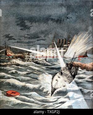Guerre russo-japonaise 1904-05: ouverture des hostilités. Des torpilleurs japonais attaque surprise sur le Port Arthur, le 8 février 1904. À partir de 'Le Petit Journal', Paris, 21 février 1904 la couleur. Banque D'Images