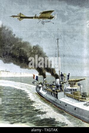 Hubert Latham (1883-1912), français, aviatior quitter Sangatte dans un 'monoplan Antoinette' à tenter de traverser la Manche le 19 juillet 1909. Moteur n'a pas à mi-chemin et Latham sauvé de l'eau par le français lance-torpilles. 1er août 1909 de 'Le Petit Journal' Paris
