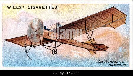 Le 'monoplan Antoinette' de Hubert Latham (1883-1912) aviateur français c.1910. Chromolithographie à partir de la série de cartes sur l'aviation