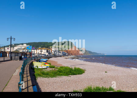 Promenade du front de mer et plage de galets à l'est à London, une petite ville balnéaire de la côte sud du Devon, au sud-ouest de l'Angleterre Banque D'Images