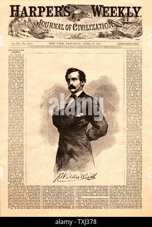 1865 Harper's Weekly front page Le président Abraham Lincoln, assassin John Wilkes Booth Banque D'Images