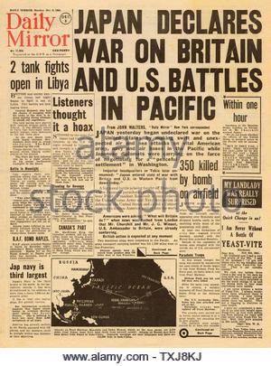 Daily Mirror 1941 Attaque japonaise sur Pearl Harbor Banque D'Images