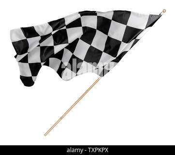 Noir blanc à carreaux de course ou drapeau à damiers avec bâton en bois fond isolé. motorsport racing voiture concept symbole Banque D'Images