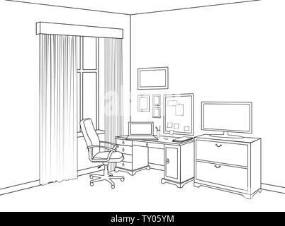 Croquis de l'intérieur du home office room. Contours design de mobilier de salle du cabinet. Vue du projet