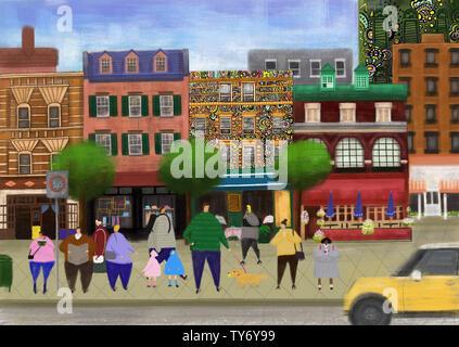 Petite ville de bus arrêt de bus en attente d'illustration