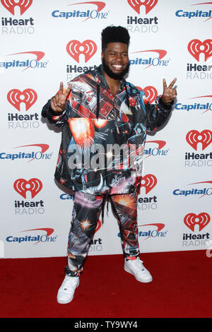 Khalid assiste au iHeartRadio Music Festival à T-Mobile Arena de Las Vegas, Nevada le 23 septembre 2017. Photo de James Atoa/UPI Banque D'Images
