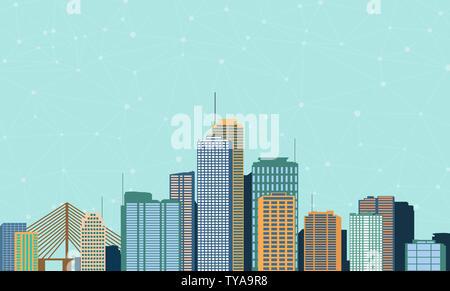 Concept de big data avec l'icône illustration de construction de ville