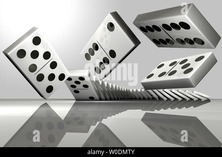 Le rendu 3D d'une rangée de des dominos Banque D'Images