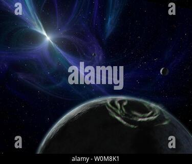 Ce concept de l'artiste dépeint le système planète pulsar découvert par Aleksander Wolszczan en 1992. Wolszczan utilisé le radiotélescope d'Arecibo à Porto Rico pour trouver trois planètes - la première de tout genre jamais trouvés à l'extérieur de notre système solaire - encerclant un pulsar nommé PSR B1257+12. Les pulsars sont des étoiles à neutrons en rotation rapide, qui sont les noyaux de l'effondrement a explosé étoiles massives. Ils tournent et le pouls avec le rayonnement, un peu comme un phare. Ici, le pulsar's twisted champs magnétiques sont mis en évidence par la lumière bleue. Les trois planètes pulsar sont indiquées dans cette photo; les deux plus éloignés de t Banque D'Images