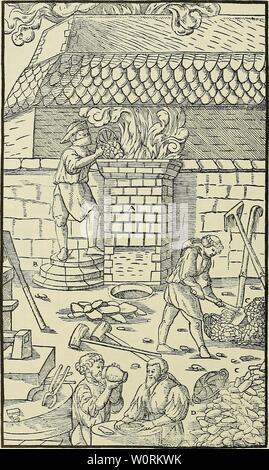 Image d'archive à partir de la page 461 du De re metallica (1950). De re metallica deremetallica50agri Année: 1950 424 LIVRE IX. A-four. B-escaliers. C-Ore. D-charbon.