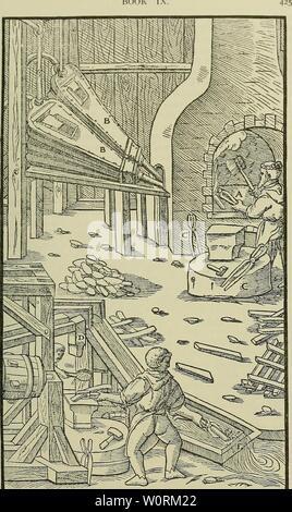 Image d'archive à partir de la page 462 du De re metallica (1950). De re metallica deremetallica50agri Année: 1950 LIVRE UN TX-Forge. B-Bellov's. C-pinces. D-marteau. E-flux.