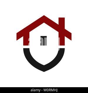 Home protection logo design modèle. Bouclier vecteur illustration logotype et de la chambre. Accueil graphique icône de sécurité label. Bâtiment moderne, symbole de l'alarme Banque D'Images